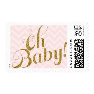 Oh Baby - Gold glitter and Pink Chevron Stamp
