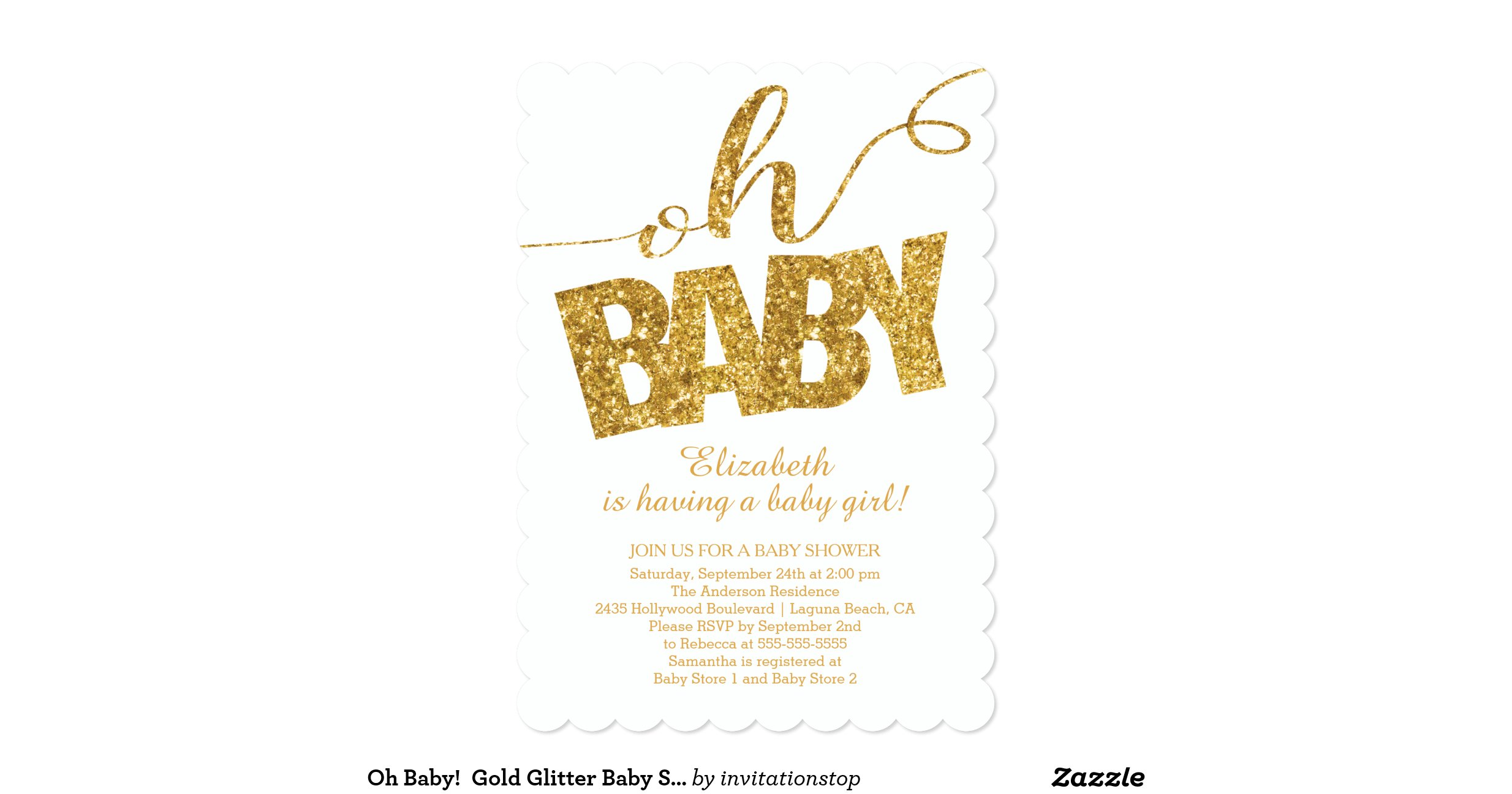 oh baby gold glitter baby shower invitation