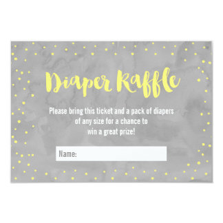 Oh Baby Gray and Yellow Baby Shower Diaper Raffle Card