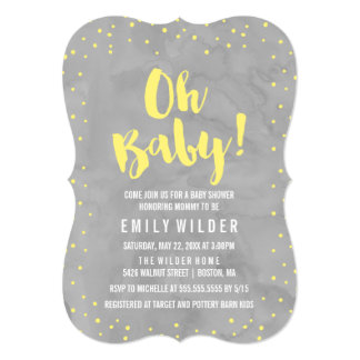 Oh Baby Gray and Yellow Watercolor Baby Shower Card