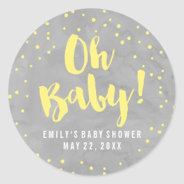 Toddler & Baby themed Oh Baby Gray and Yellow Watercolor Baby Shower Classic Round Sticker