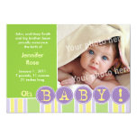 "Oh baby green announcement 5"" x 7"" invitation card"
