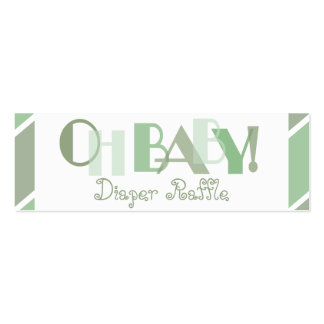 Oh Baby Green Modern Diaper Raffle Double-Sided Mini Business Cards (Pack Of 20)
