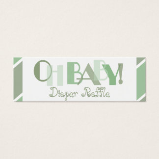 Oh Baby Green Modern Diaper Raffle Mini Business Card