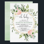"Oh baby greenery pink gold floral girl baby shower invitation<br><div class=""desc"">For more advanced customization of this design,  simply select the ""Customize It"" button above!</div>"