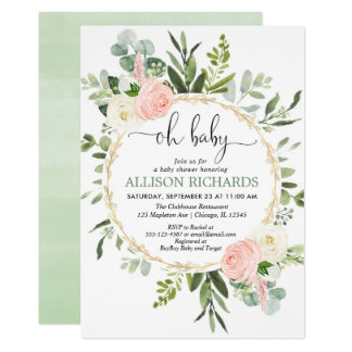 Oh baby greenery pink gold floral girl baby shower invitation
