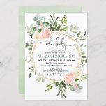 """Oh baby greenery pink gold floral girl baby shower invitation<br><div class=""""desc"""">For more advanced customization of this design,  simply select the """"Customize It"""" button above!</div>"""