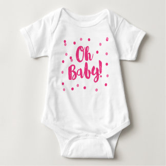 Oh Baby   Hot Pink Confetti Dots Baby Bodysuit