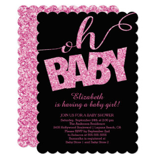 Oh Baby!  Hot Pink Glitter  Baby Shower Invitation