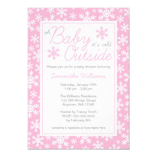 Oh Baby It's Cold Outside Pink Baby Shower 5x7 Paper Invitation Card