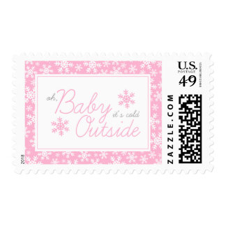 Oh Baby It's Cold Outside Pink Baby Shower Postage
