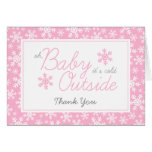 Oh Baby It's Cold Outside Pink Thank You Stationery Note Card