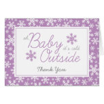 Oh Baby It's Cold Outside Purple Thank You Stationery Note Card