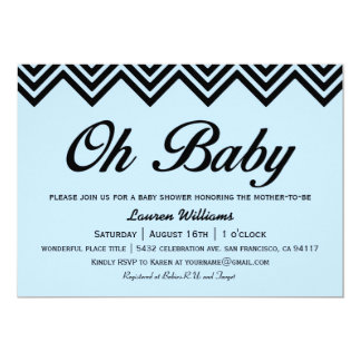 Oh Baby Light Blue & Black Baby Shower Invitations