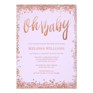 Oh Baby Lilac Faux Rose Gold Glitter Baby Shower Card