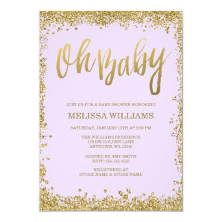 Oh Baby Lilac Purple Gold Glitter Baby Shower Card