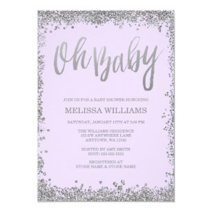 Glitter purple silver baby shower invitations announcements zazzle oh baby lilac purple silver glitter baby shower card filmwisefo Choice Image