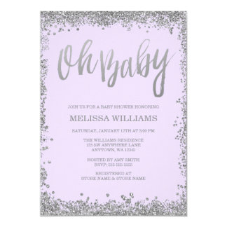 Oh Baby Lilac Purple Silver Glitter Baby Shower Card