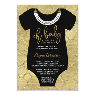 Oh Baby, Little Lady Baby Shower Invite, Faux Gold Card