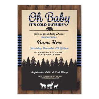 Oh Baby Lumberjack Blue Baby Shower Boy Invitation
