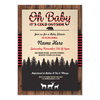 Oh Baby Lumberjack Red Baby Shower Boy Invitation