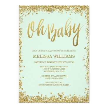 Toddler & Baby themed Oh Baby Mint Gold Glitter Baby Shower Card