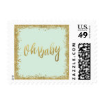 Oh Baby Mint Gold Glitter Baby Shower Postage
