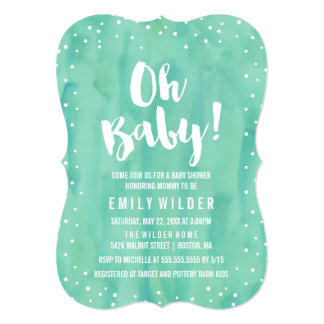 Oh Baby Mint Green Watercolor Baby Shower Card