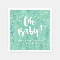 Oh Baby Mint Watercolor Baby Shower Paper Napkin