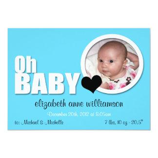 Oh Baby, Modern Aqua Blue Photo Birth Announcement