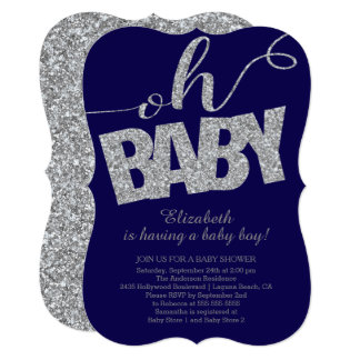 Oh Baby Modern Glitter Boys Baby Shower Invitation