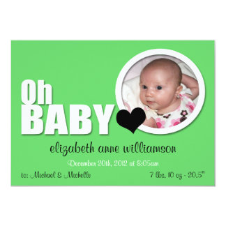 Oh Baby, Modern Green Photo Birth Announcement