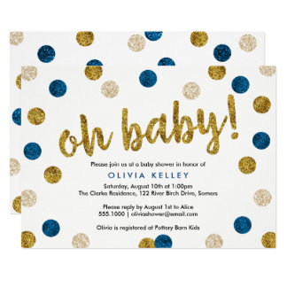 Oh Baby Navy and Gold Baby Shower Invitation