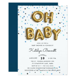 Oh Baby | Navy & Gold Baby Shower Invitation