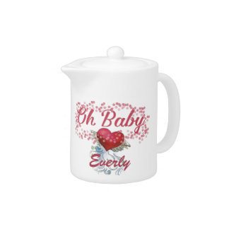 Oh Baby Personalized Pink Girly Girl Teapot