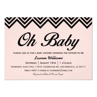 Oh Baby Pink and Black Baby Shower Invitations
