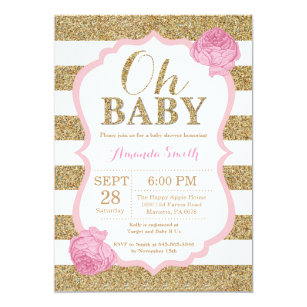 White gold baby shower invitations zazzle oh baby pink and gold baby shower invitation filmwisefo