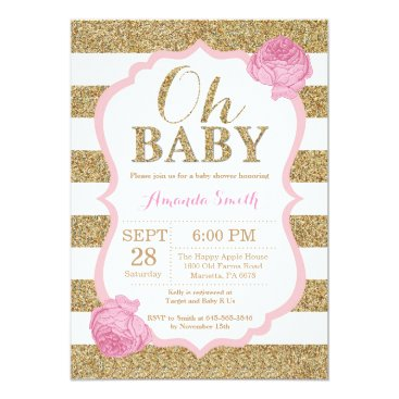 Toddler & Baby themed Oh Baby Pink and Gold Baby Shower Invitation