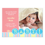 "Oh baby pink announcement 5"" x 7"" invitation card"
