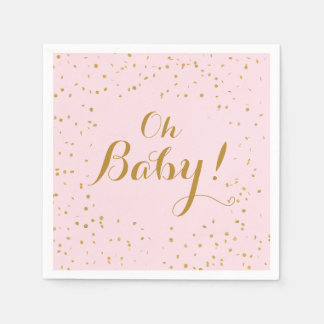 Oh Baby! Pink & Gold Confetti Napkins