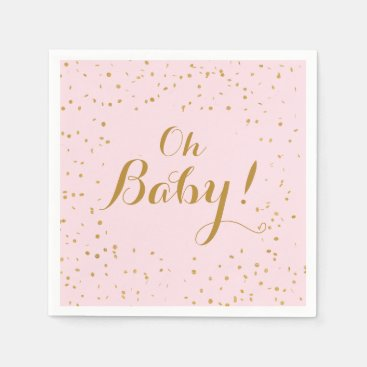 Toddler & Baby themed Oh Baby! Pink & Gold Confetti Napkins