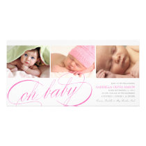 Oh Baby | Pink Script Birth Announcement