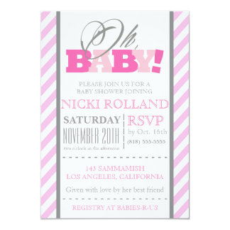 Oh, Baby! Pink Stripes Baby Shower Invitation