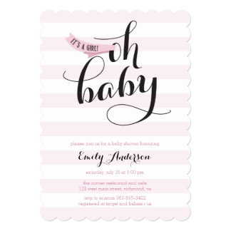 Oh Baby Pink Stripes Baby Shower Invite