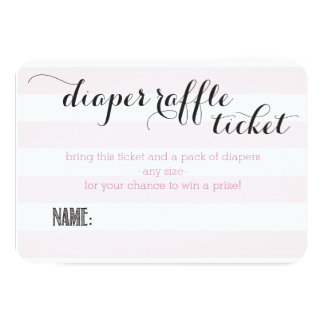 Oh Baby Pink Stripes Shower Diaper Raffle Ticket Card