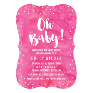 Oh Baby Pink Watercolor Baby Shower Card