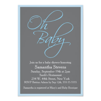 Oh Baby Posh Baby Shower for Boy Card