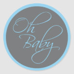 Oh Baby Posh Baby Shower for Boy Classic Round Sticker