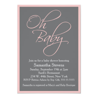 Oh Baby Posh Baby Shower for Girl 5x7 Paper Invitation Card