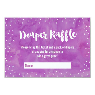 Oh Baby Purple Baby Shower Diaper Raffle Card